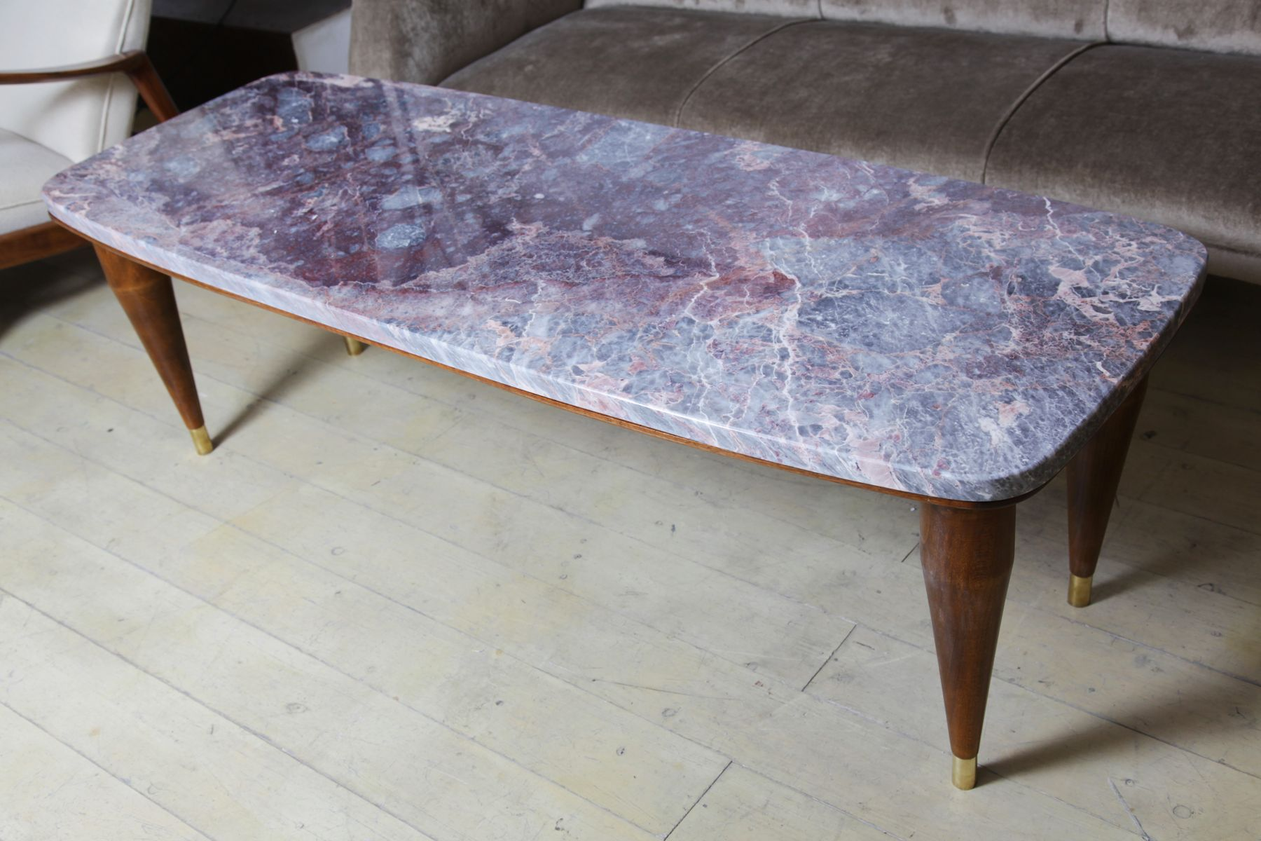 Italian Coffee Tables Italian Coffee Table With Peach Blossom Marble Top 1950s For Sale