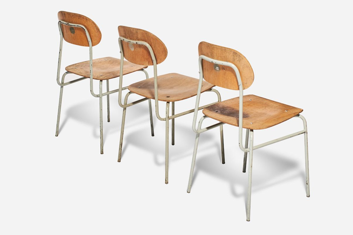 vintage industrial plywood & steel school chairs, set of 6 for