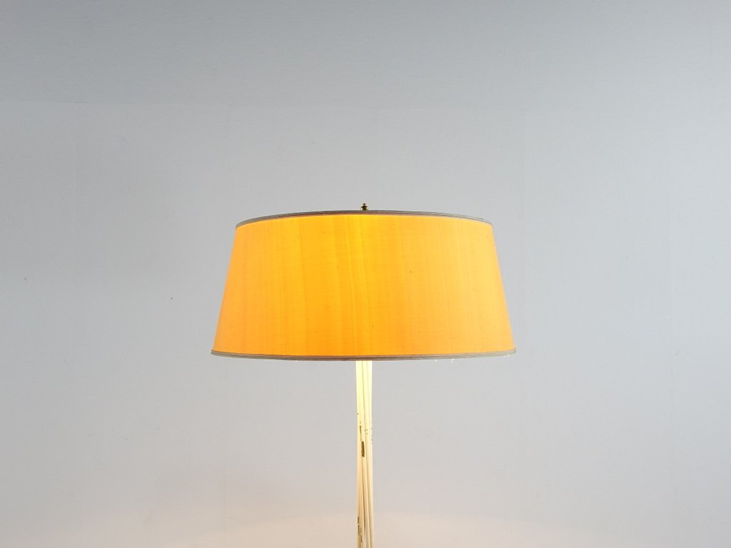 Brass floor lamp with yellow shade 1950s for sale at pamono for Yellow metal floor lamp