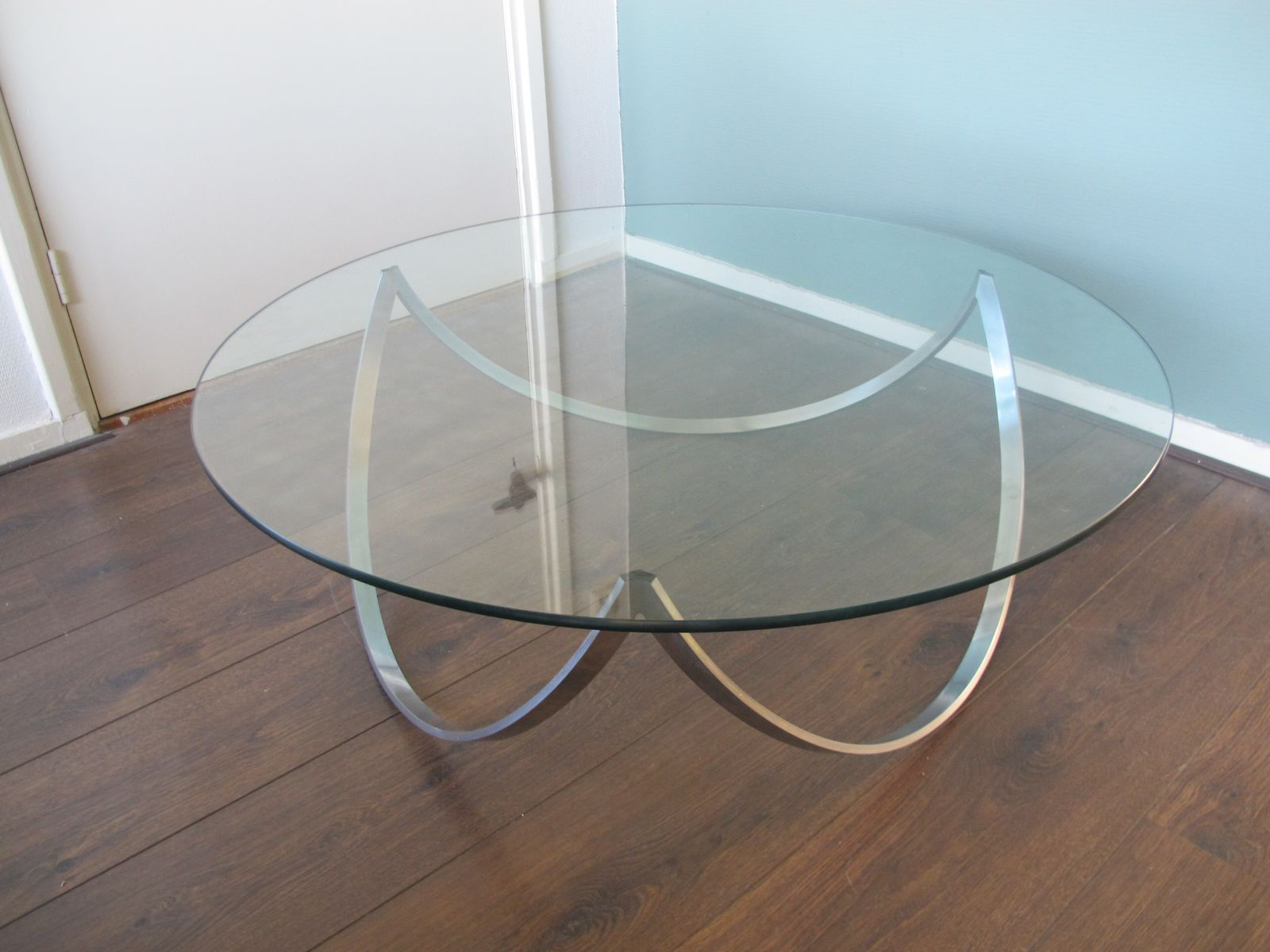 Steel glass coffee table 1960s for sale at pamono Steel and glass coffee table