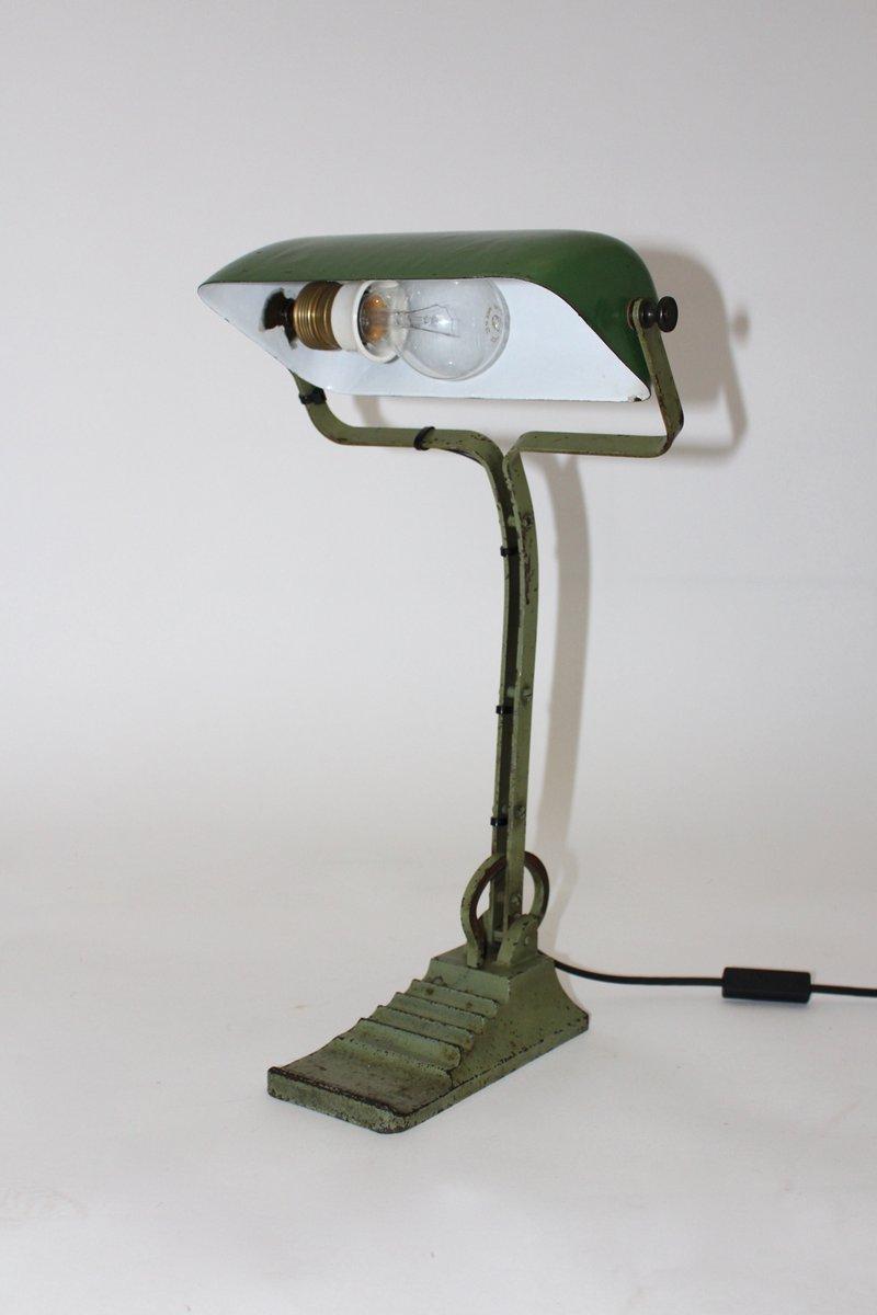 Lampe de Bureau Bauhaus Verte en Verre 1920s en vente sur Pamono