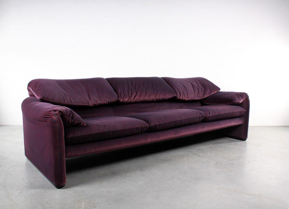 zweifarbiger vintage maralunga drei sitzer sofa von vico magistretti f r cassina bei pamono kaufen. Black Bedroom Furniture Sets. Home Design Ideas