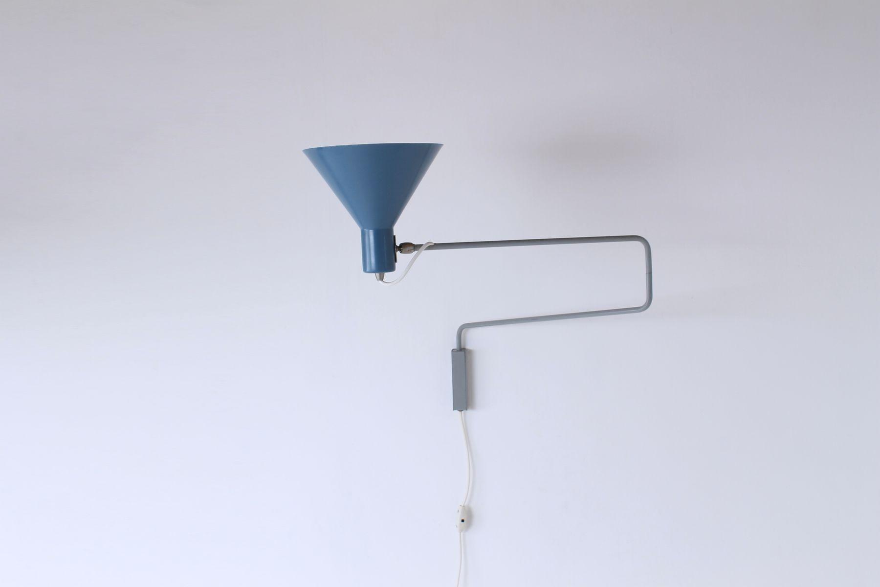 Vintage Petrol Blue Paperclip Elbow Wall Light by J. J. M. Hoogervorst for Anvia for sale at Pamono