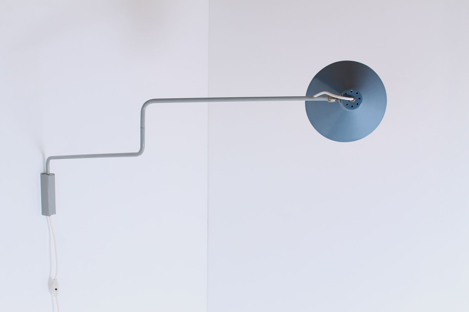 Vintage Petrol Blue Paperclip Elbow Wall Light by J. J. M. ...