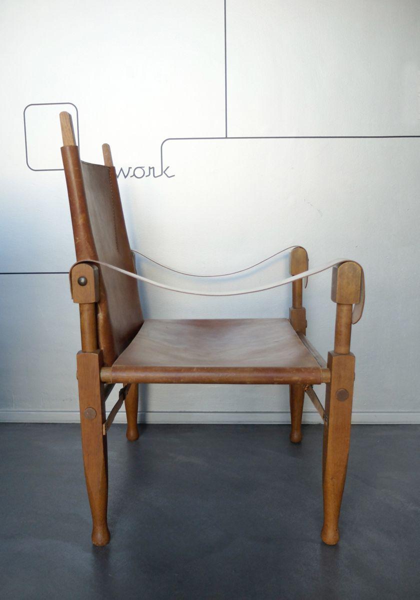 Skandinavischer vintage leder safari stuhl von kaare klint - Skandinavischer stuhl ...