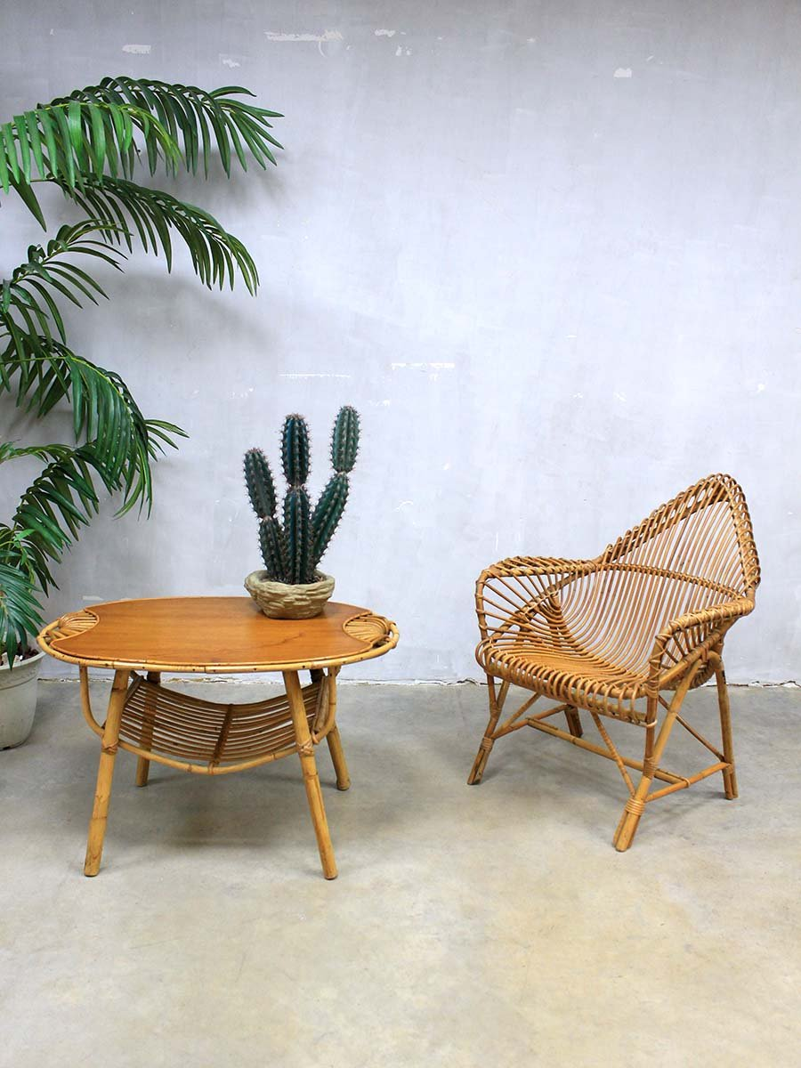 Rattan lounge  Vintage Rattan Lounge Set by Janine Abraham for sale at Pamono