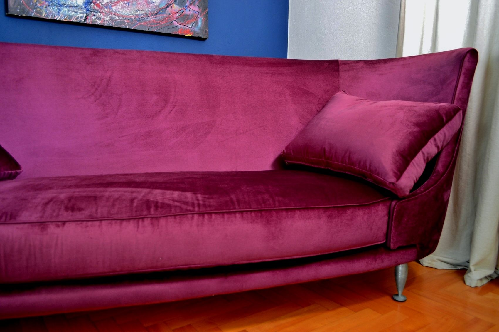 italian mid century purple velvet sofa 1950s for sale at pam