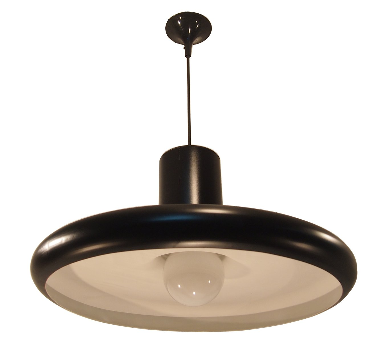 Black Industrial Light Part - 19: Mid-Century Black Industrial French Pendant Ceiling Light From Lita, 1960