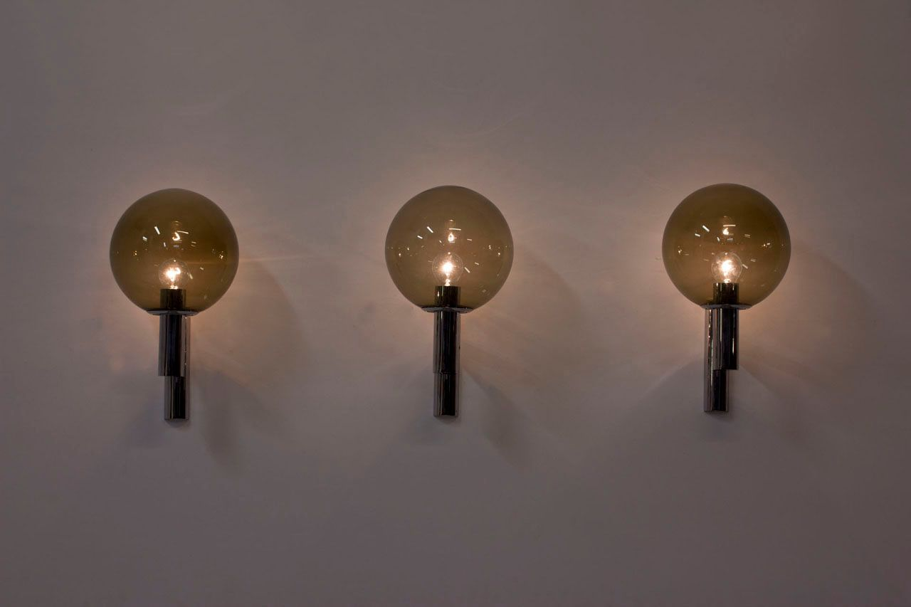 Vintage Chrome and Glass Wall Lamps, Set of 3 for sale at Pamono