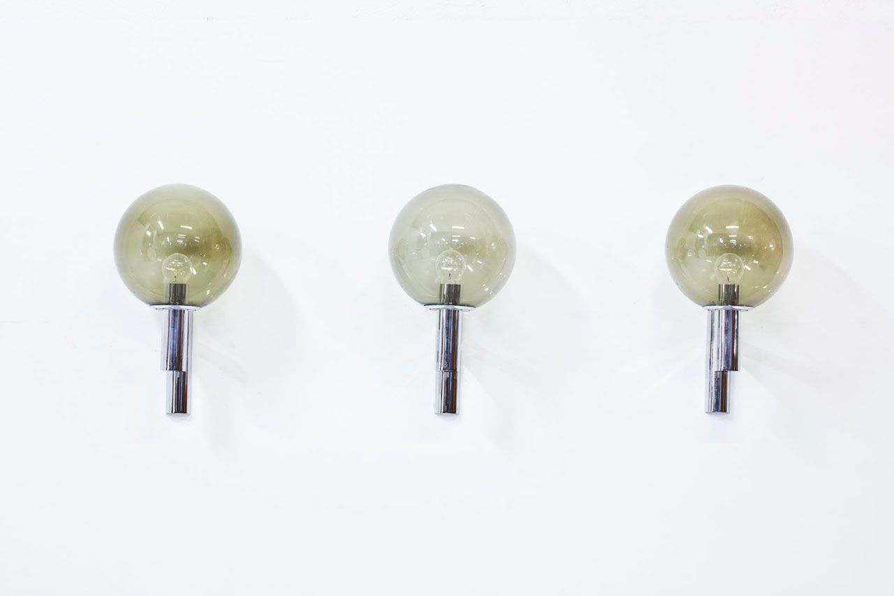 Vintage Glass Wall Lamps : Vintage Chrome and Glass Wall Lamps, Set of 3 for sale at Pamono
