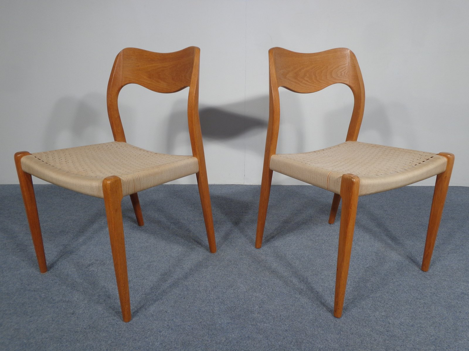 Vintage Model 71 Oak Chairs by N O M¸ller Set of 2 for sale at
