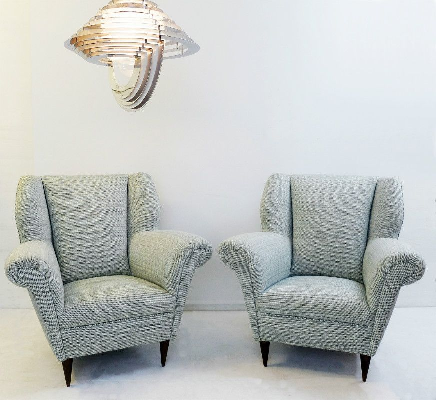 Italienische sessel in grau beige 1950er 2er set bei for Italienische sessel design