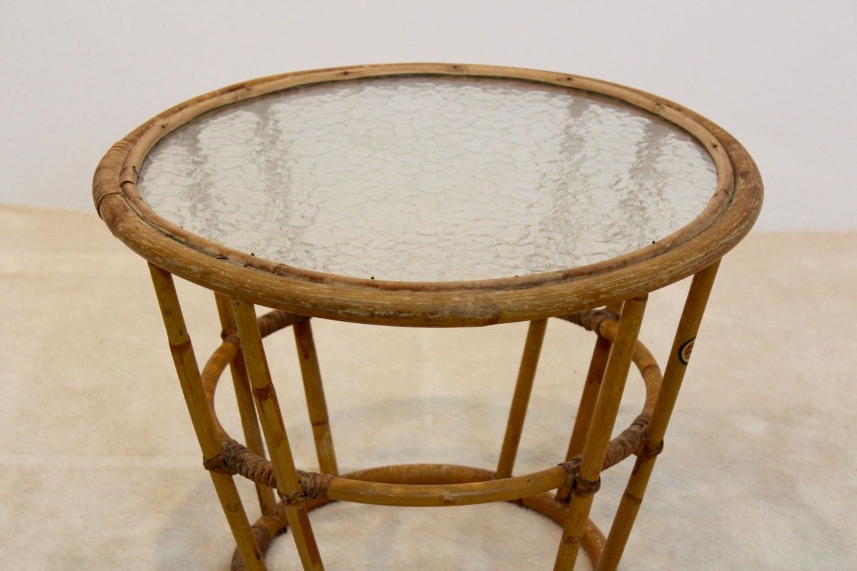 Vintage Glass Side Table ~ Vintage wicker glass side table from rohé noordwolde for
