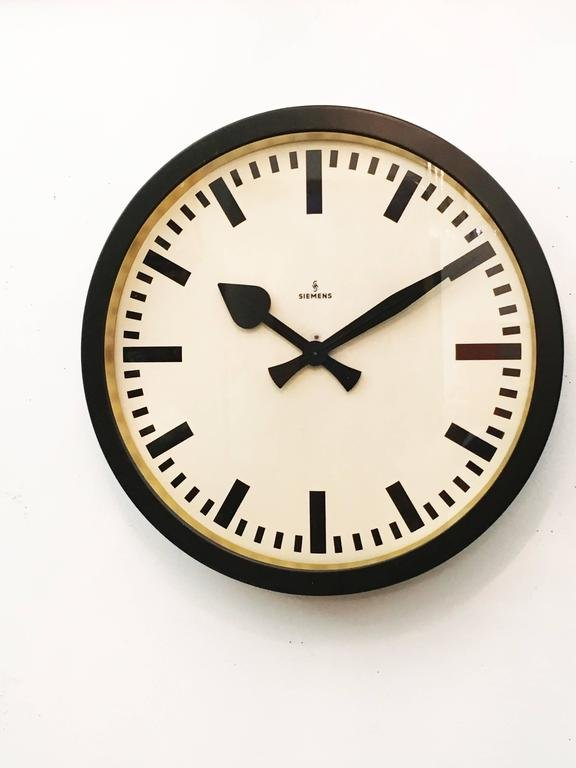 large vintage industrial station wall clock from siemens for sale