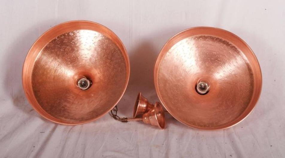 danish hammered copper pendant light round uk industrial shade