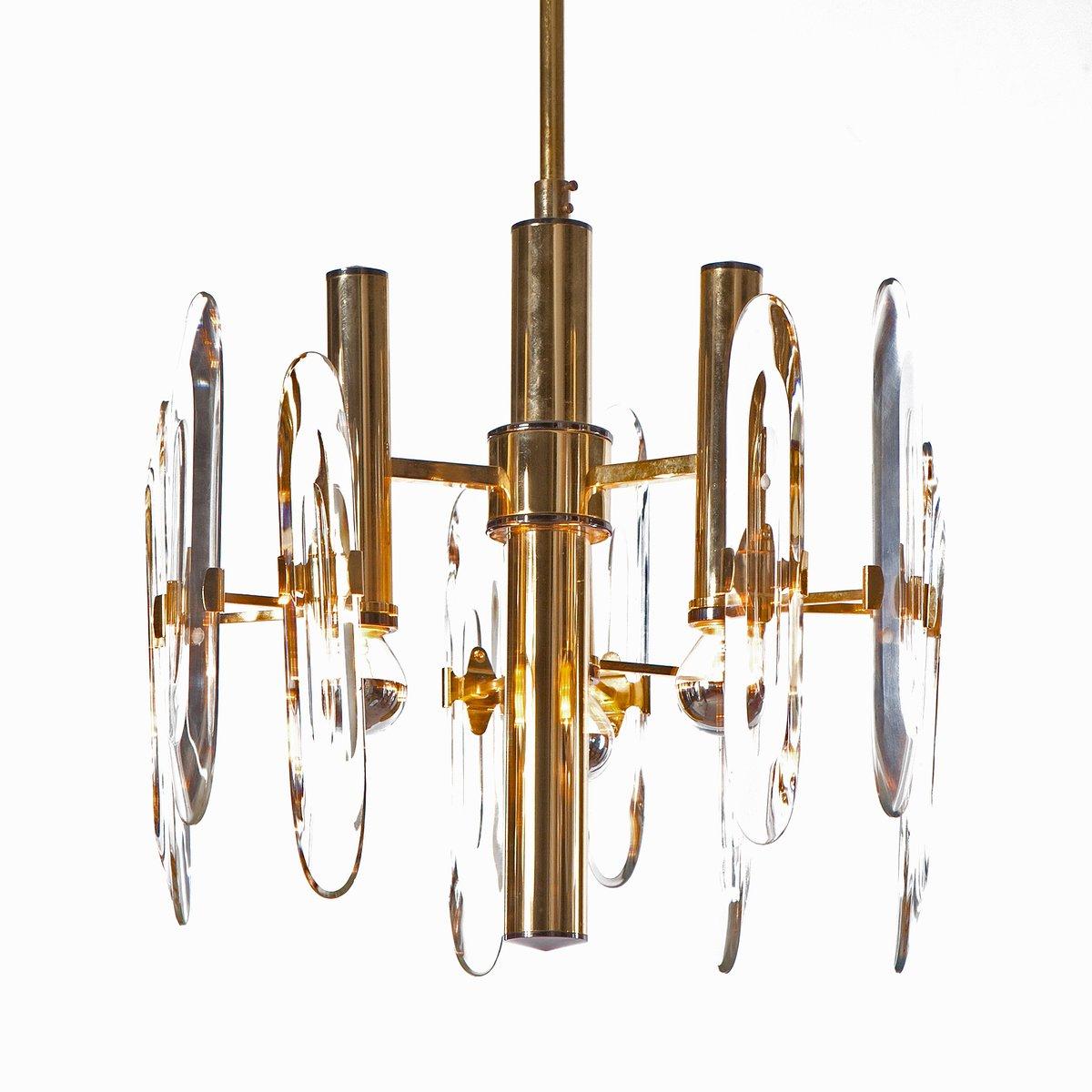 Three light brass crystal glass chandelier by gaetano sciolari three light brass crystal glass chandelier by gaetano sciolari 1960s mozeypictures Images