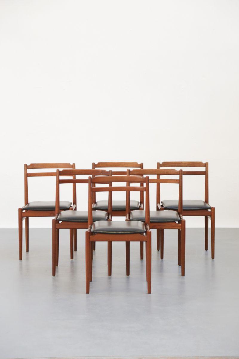 skandinavische vintage teak st hle 6er set bei pamono kaufen. Black Bedroom Furniture Sets. Home Design Ideas