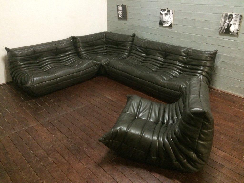 Black Olive Leather Togo Sofa Set By Michel Ducaroy For Ligne Roset, 1974