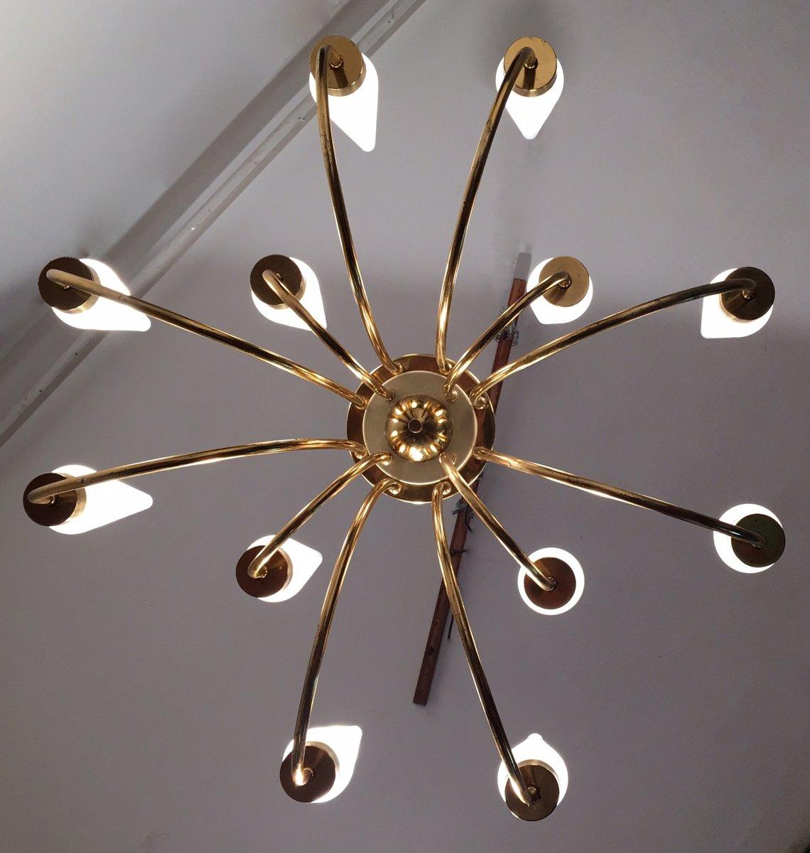 Italian twelve arm brass chandelier from arredoluce 1950s for Arredo luce
