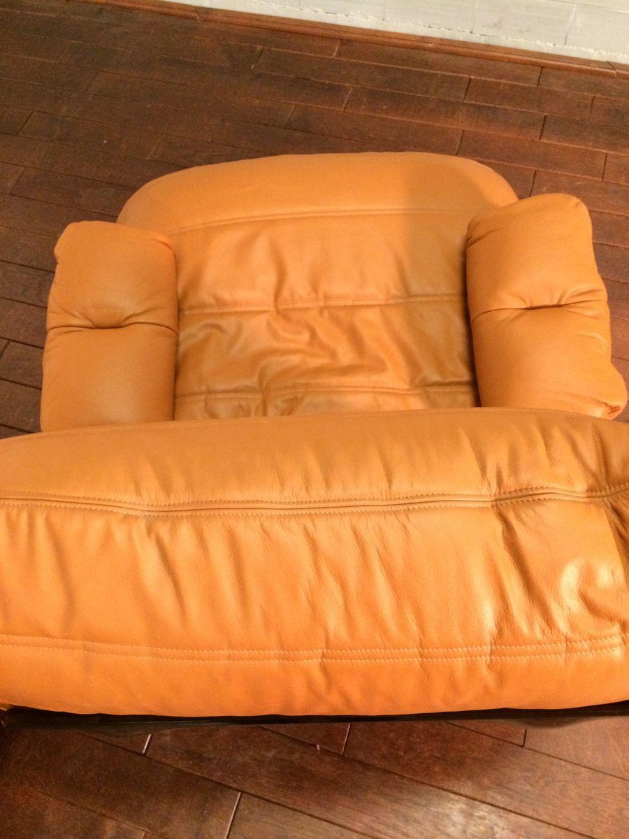cognac farbener marsala ledersessel hocker von michel ducaroy f r ligne roset 1970er bei. Black Bedroom Furniture Sets. Home Design Ideas