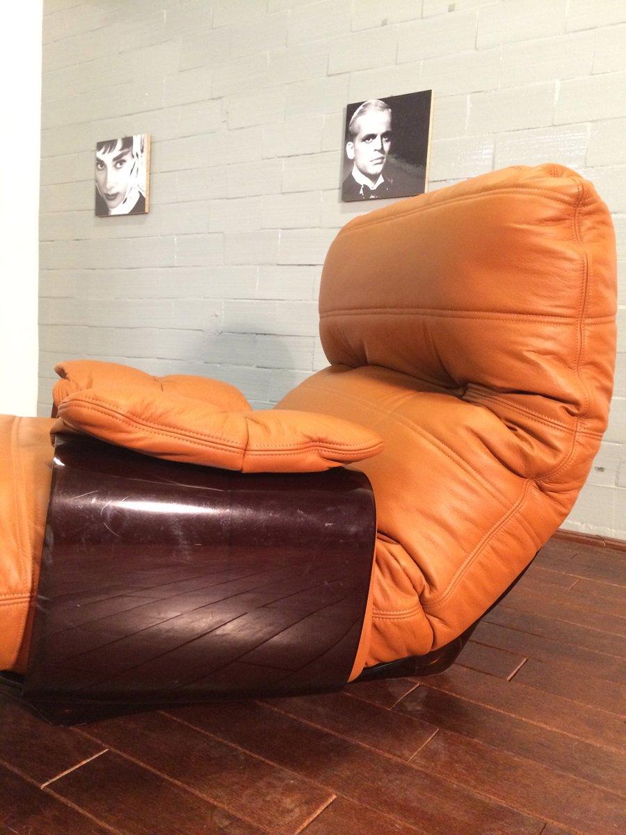 fauteuil et pouf marsala cognac en cuir par michel ducaroy pour ligne roset 1970s en vente sur. Black Bedroom Furniture Sets. Home Design Ideas