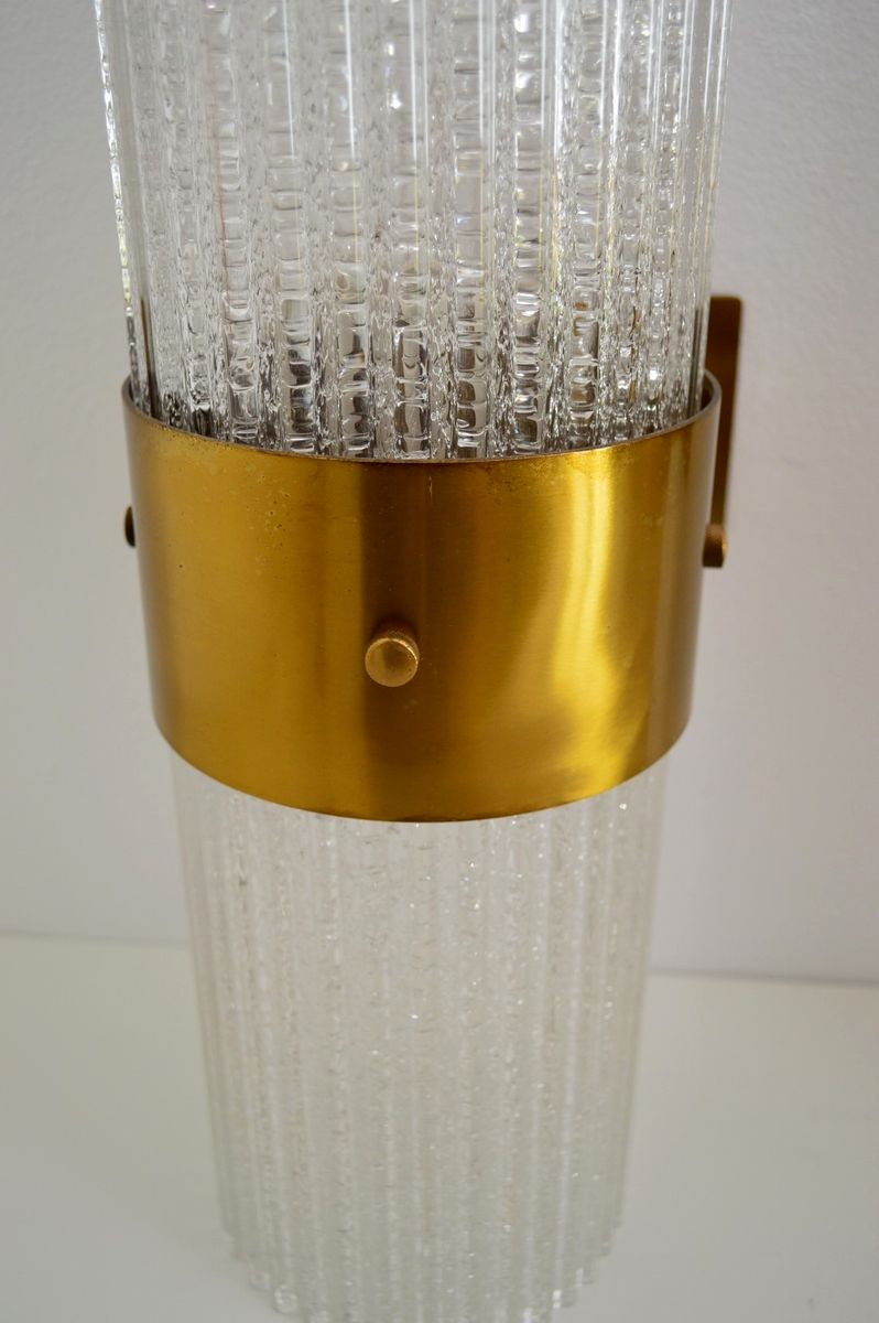 Large modernist brass and glass wall sconces from murano for Large glass wall