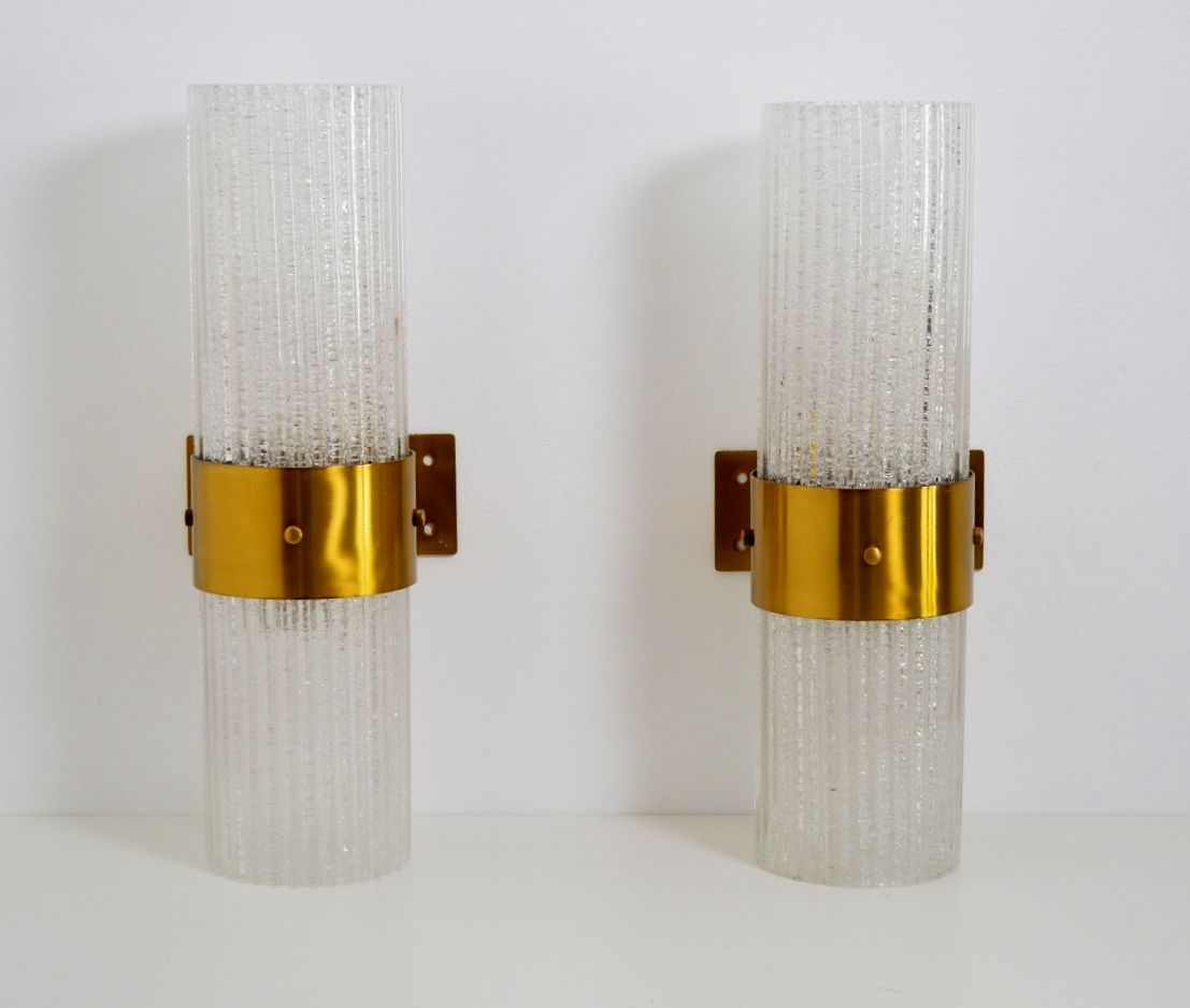Tall Glass Wall Sconces : Large Modernist Brass and Glass Wall Sconces from Murano, 1960s, Set of 2 for sale at Pamono