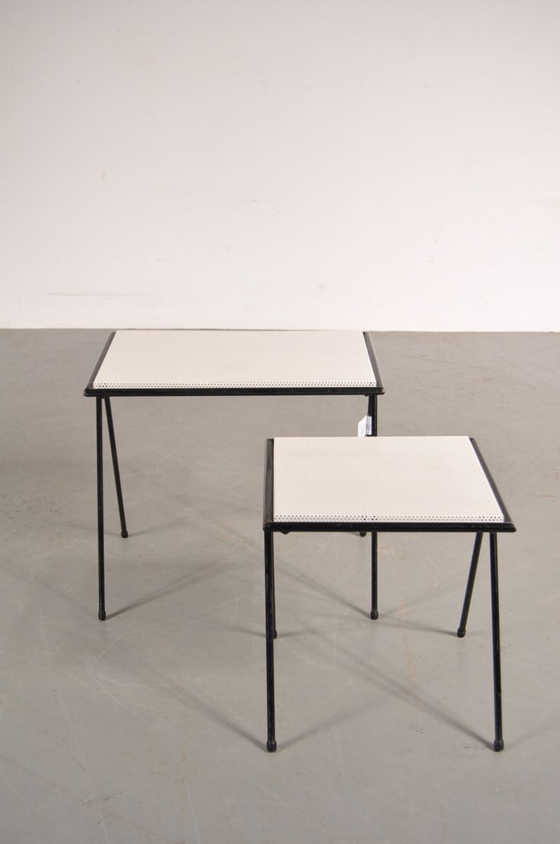 Black metal nesting tables by floris fiedeldij for