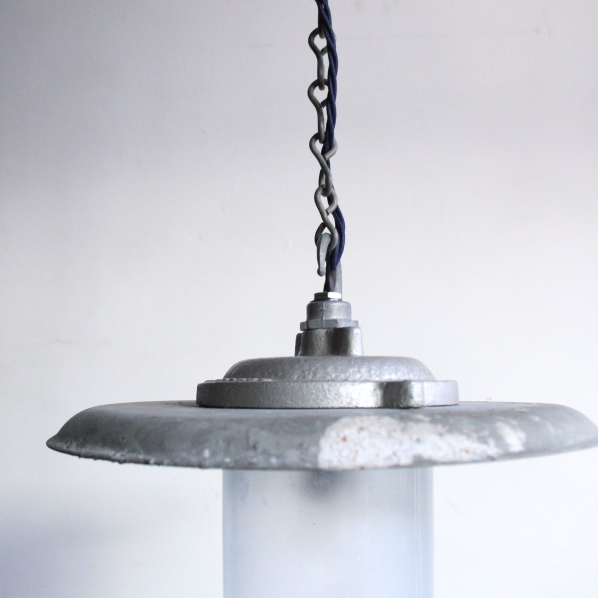 Vintage Industrial Pendant Light With Steel Reflector For