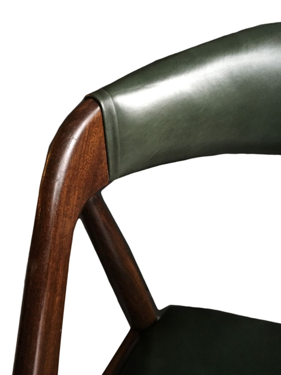 Model 31 Green Leather Dining Chairs by Kai Kristiansen for Schou – Green Leather Dining Chairs