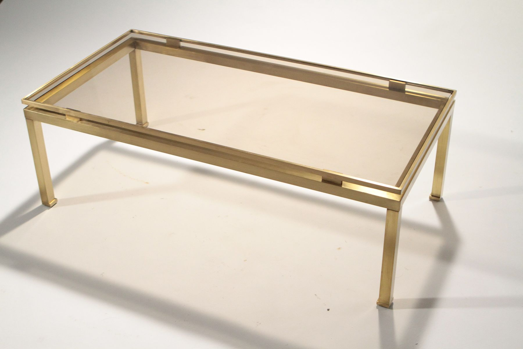 Brass Smoked Glass Coffee Table By Guy Lefevre For Maison Jansen 1970s