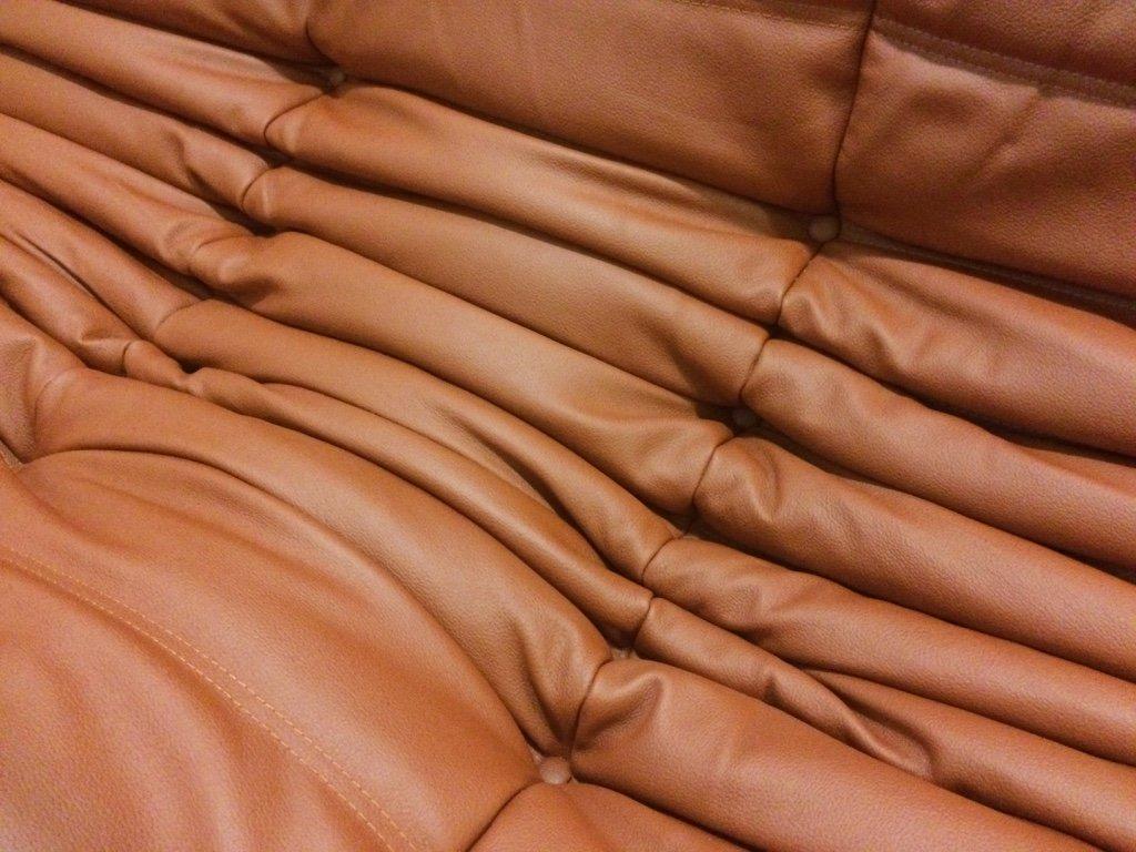 rotes togo 3 sitzer ledersofa von michel ducaroy f r ligne. Black Bedroom Furniture Sets. Home Design Ideas
