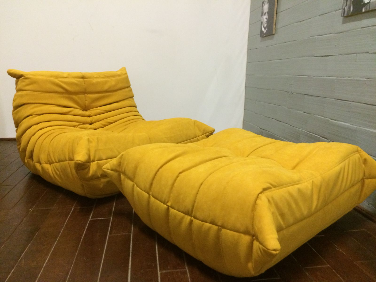 yellow alcantara togo sofa set by michel ducaroy for ligne roset 1970s set of 3 for sale at pamono. Black Bedroom Furniture Sets. Home Design Ideas