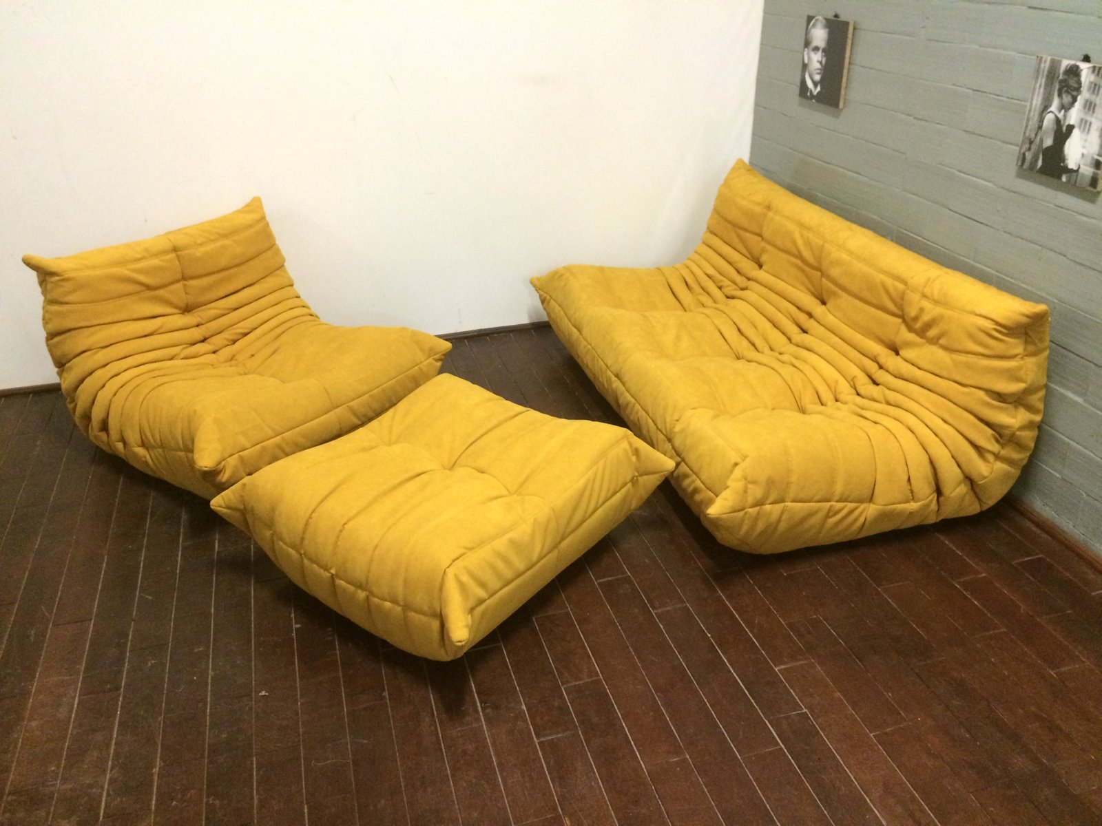 yellow alcantara togo sofa set by michel ducaroy for ligne roset 1970s set of 3 for sale at pamono. Black Bedroom Furniture Sets. Home Design Ideas