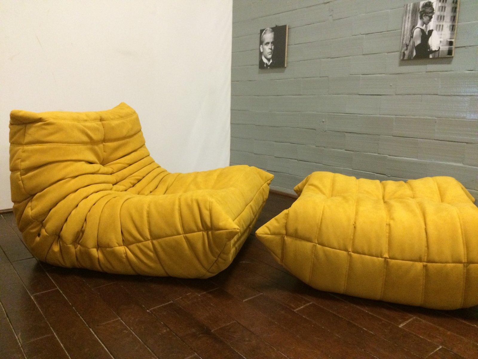 gelbes alcantara togo sofa set von michel ducaroy f r. Black Bedroom Furniture Sets. Home Design Ideas