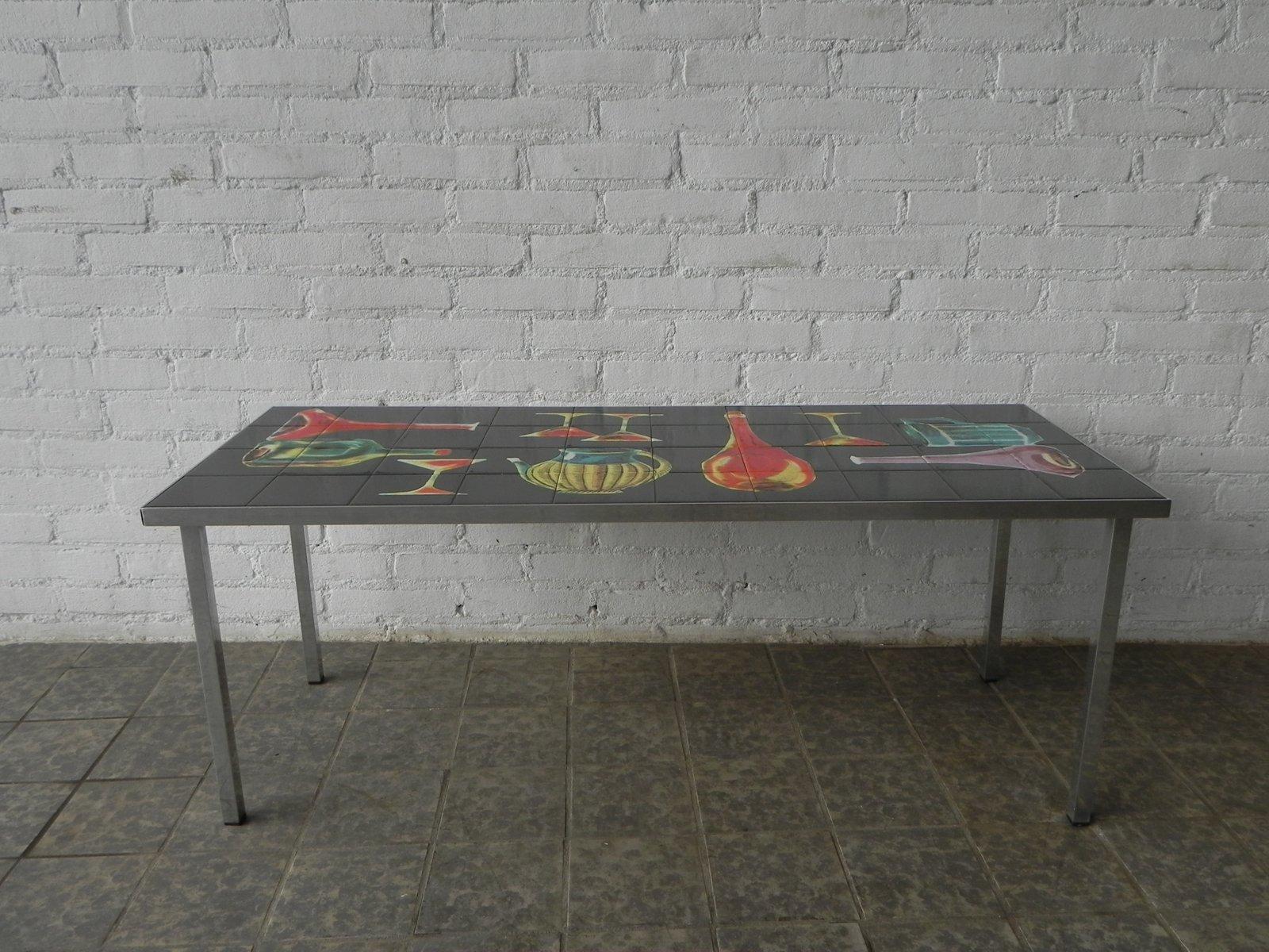 vintage tisch mit dekorativen fliesen bei pamono kaufen. Black Bedroom Furniture Sets. Home Design Ideas