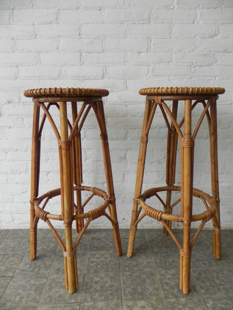 Vintage rattan bar stools set of 2 for sale at pamono for Bar stools for sale