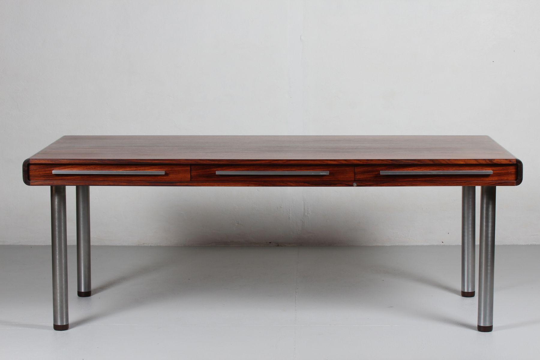 Grand bureau en palissandre avec trois tiroirs par kai kristiansen pour dyrlund 1970s en vente - Bureau avec grand tiroir ...