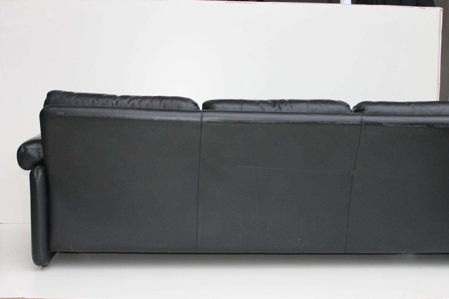 Coronado Black Leather Sofa By Tobia Scarpa For B B Italia 1970s For Sale At Pamono