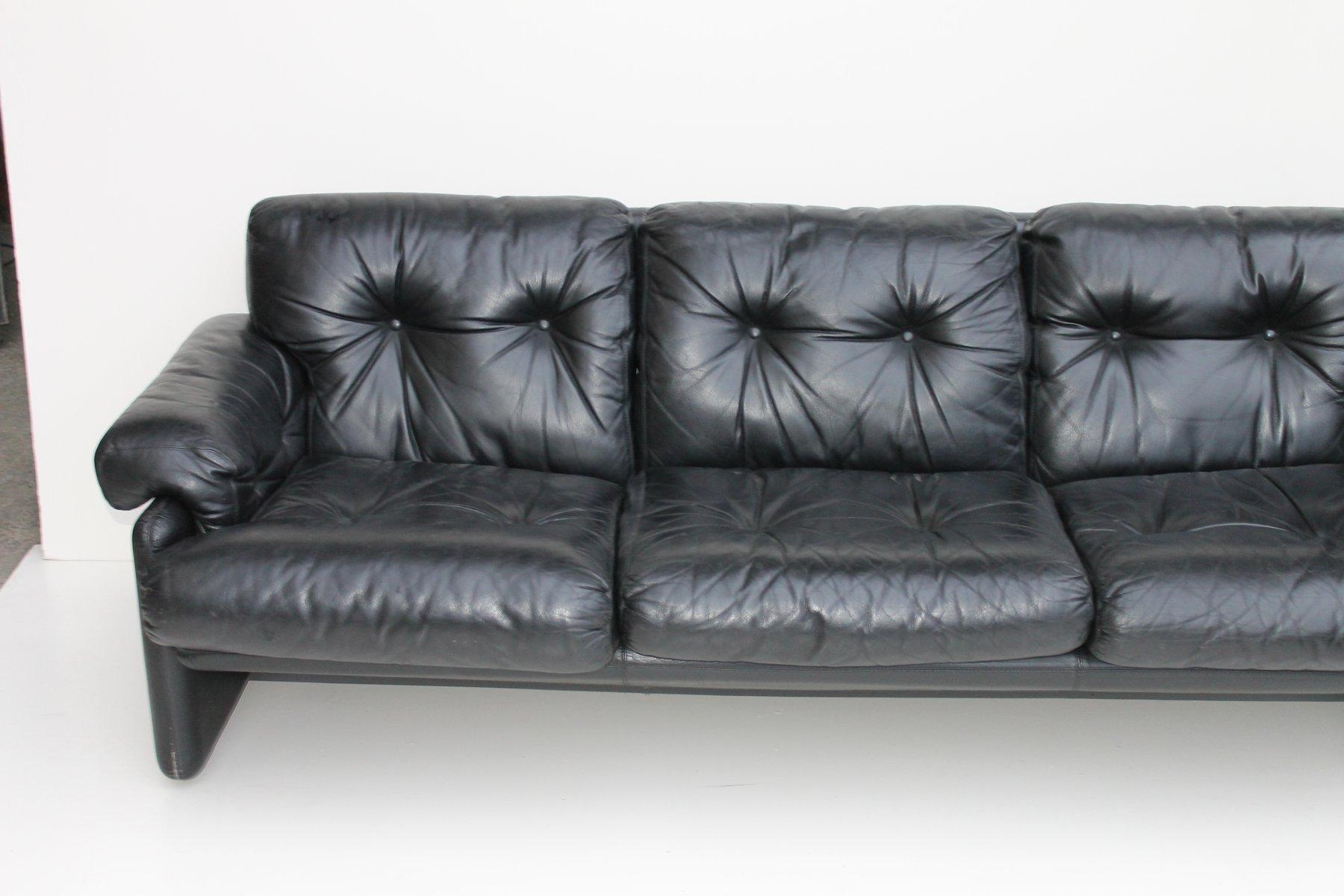 Coronado Black Leather Sofa by Tobia Scarpa for B&B Italia 1970s