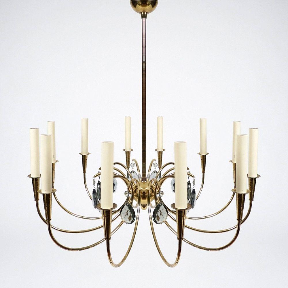vintage kronleuchter aus messing glas mit 12 leuchten bei pamono kaufen. Black Bedroom Furniture Sets. Home Design Ideas