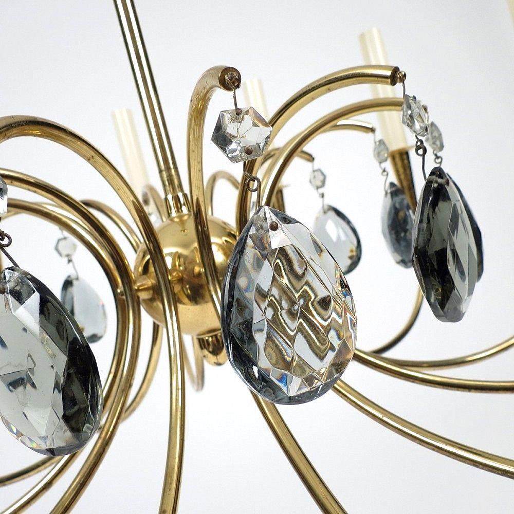vintage kronleuchter aus messing glas mit 12 leuchten. Black Bedroom Furniture Sets. Home Design Ideas