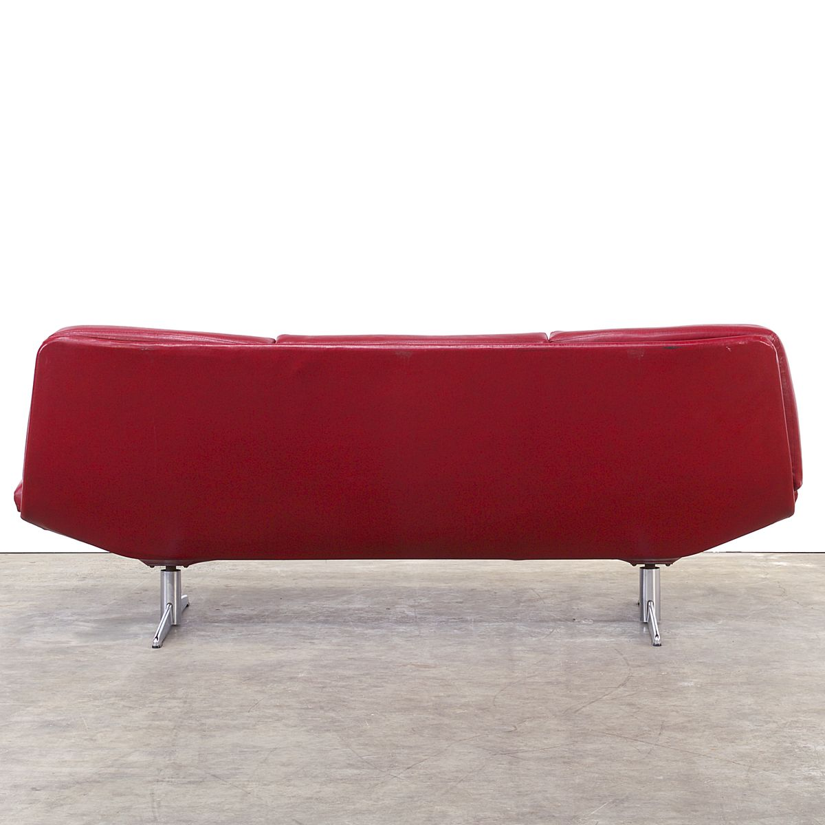 Canap rouge en ska 3 places 1960s en vente sur pamono - Canape rouge 3 places ...