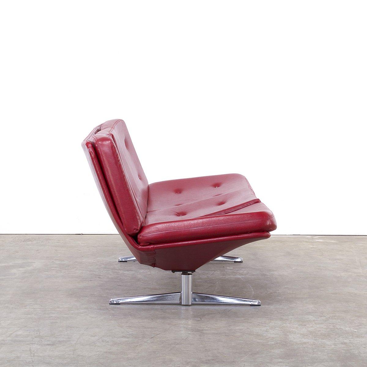 canap rouge en ska 3 places 1960s en vente sur pamono. Black Bedroom Furniture Sets. Home Design Ideas