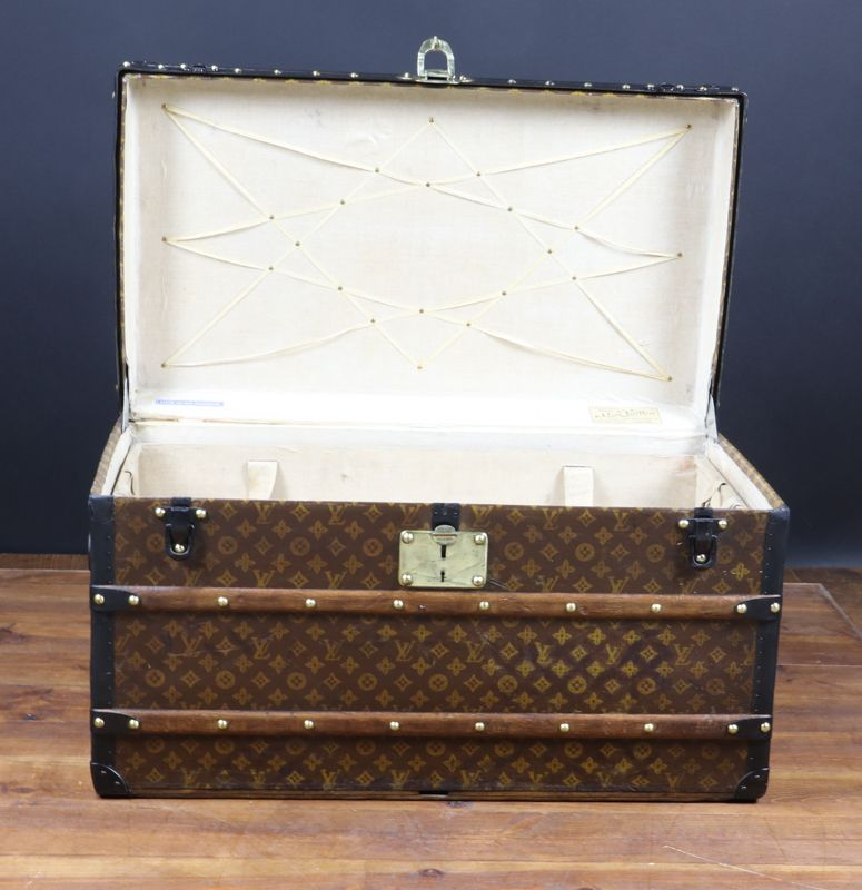 antique metal trunks antique stenciled monogram trunk from louis vuitton for sale at pamono