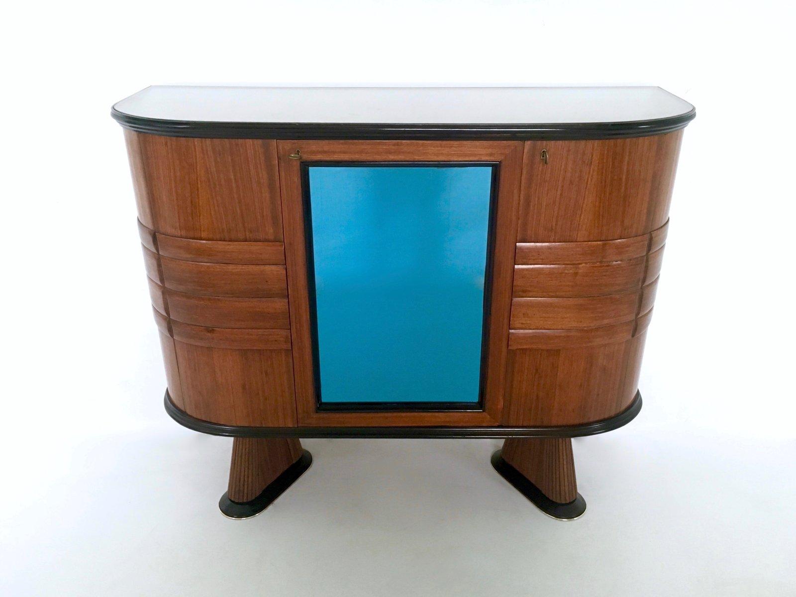 italienischer palisander schrank mit blau verspiegelter bar 1950er bei pamono kaufen. Black Bedroom Furniture Sets. Home Design Ideas