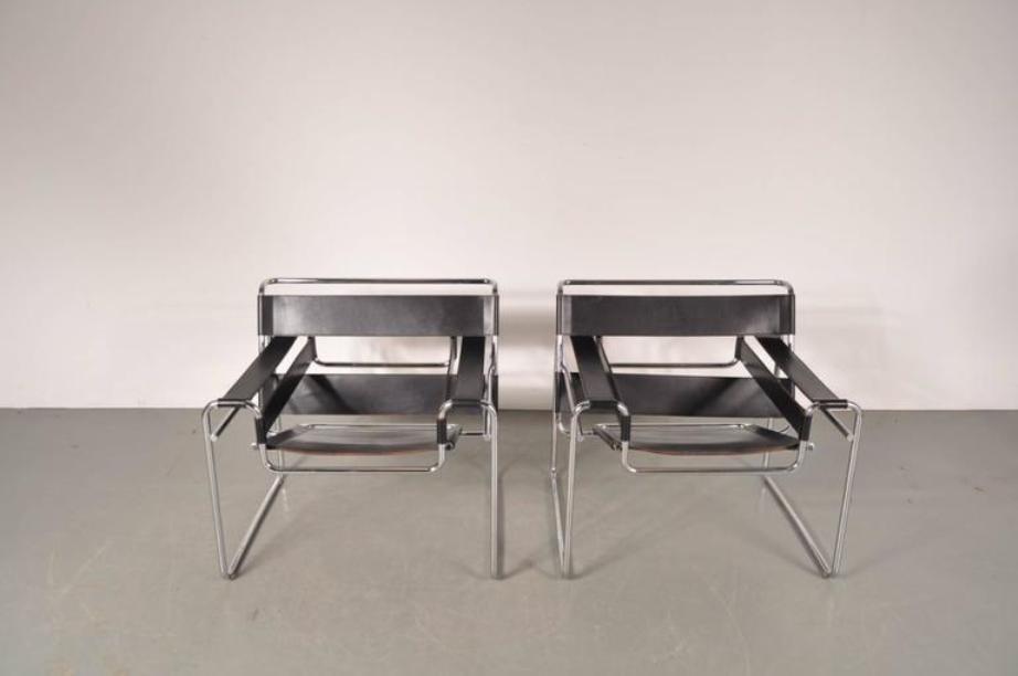 wassily sessel aus leder stahl von marcel breuer f r gavina 1960er 2er set bei pamono kaufen. Black Bedroom Furniture Sets. Home Design Ideas