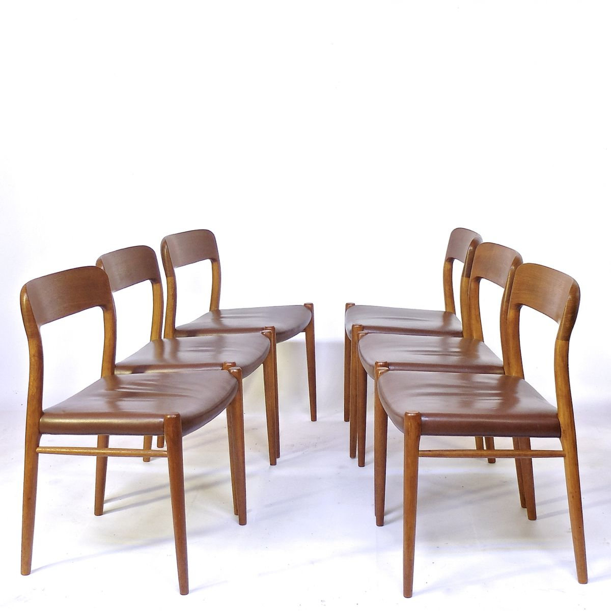 vintage st hle aus teak leder von niels o m ller f r j l m llers 6er set bei pamono kaufen. Black Bedroom Furniture Sets. Home Design Ideas