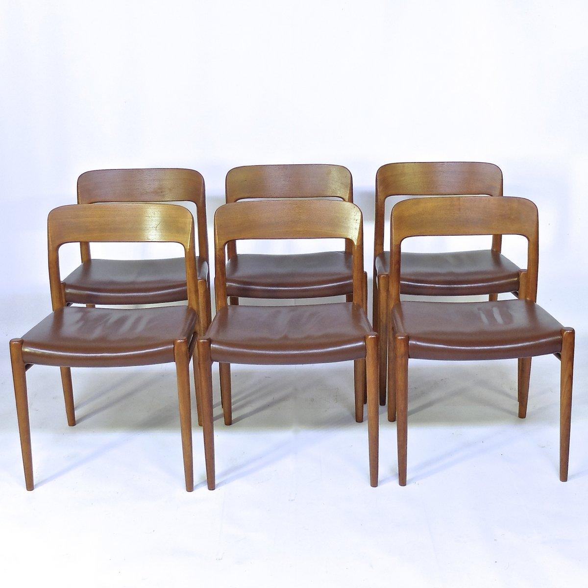 vintage st hle aus teak leder von niels o m ller f r j. Black Bedroom Furniture Sets. Home Design Ideas