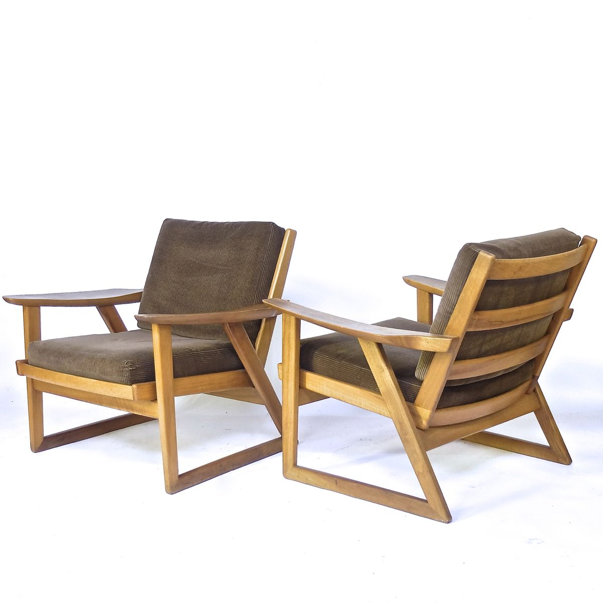 d nische mid century teak cord sessel 2er set bei pamono kaufen. Black Bedroom Furniture Sets. Home Design Ideas